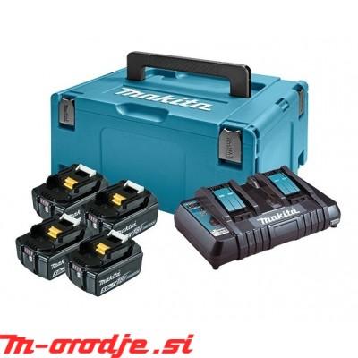 Makita LXT Li-Ion akumulatorski set v kovčku Makpac 3, 4 x BL1850B z dvojnim polnilnikom DC18RD 197626-8