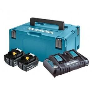 Makita LXT Li-Ion akumulatorski set v kovčku Makpac 3, 2 x BL1860B z dvojnim polnilnikom DC18RD 198077-8
