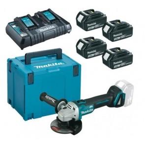 Makita LXT Li-Ion akumulatorski set v kovčku Makpac 4, 4 x BL1830B z dvojnim polnilnikom DC18RD in DGA504Z